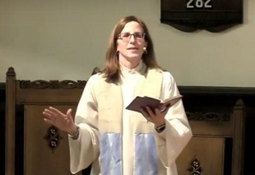 """Rev. Dr. Donna Giver-Johnston, pastor of Community Presbyterian Church of Ben Avon (CPCBA), leads worship with a sermon titled, """"When God Is Silent"""""""