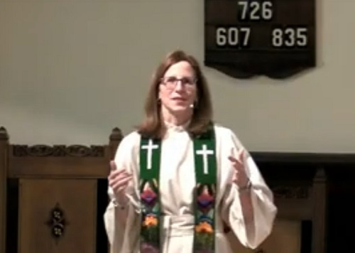 """Rev. Dr. Donna Giver-Johnston delivers a sermon, """"There's Always a Catch"""" at CPCBA worship on Sunday, February 10, 2019."""