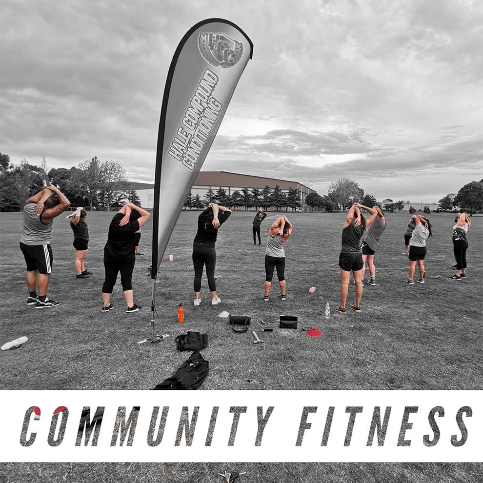 HCC Community Fitness - HCC's community fitness sessions are both fun and varied. Our programme is designed for all levels of fitness, from your first timer couch potato to your everyday regular gym goer.These training groups are run over 8 week periods and we are currently in two different locations across Christchurch, Hornby & Hoon Hay.With a mixture of compound movements, resistance training, high intensity interval training, cardio & mobility exercises. It's a perfect combination for individuals wanting to drop body fat, increase flexibility/range of motion, improve cardio vascular fitness and improve all over muscle tone.