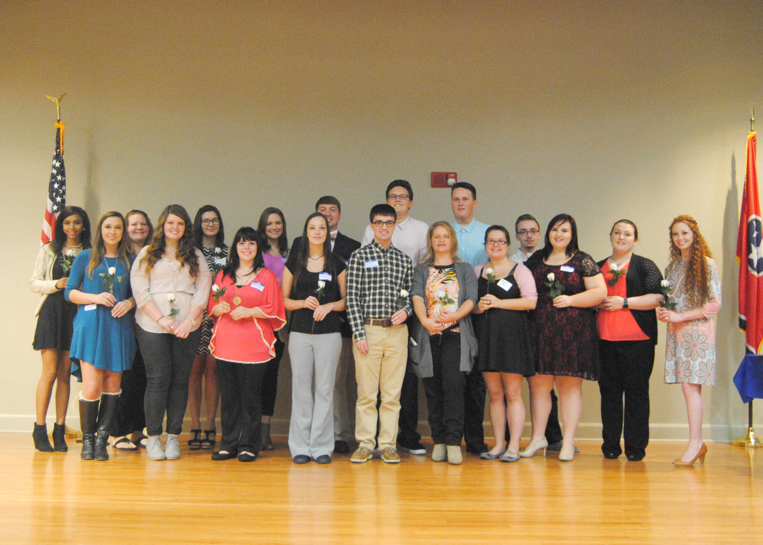 DSCC students inducted into the PTK honorary society include (front row L to R) Brooke Evans of Dyersburg, Lydia Hubbard of Covington, Rebecca Brown of Munford, Breanna Kelley of Drummonds, Garret Steelman of Halls, Wyndi Heavner of Munford, Kimberly Terry of Munford, Sarah Davis of Gilt Edge, Rachel Isaak of Gates, Jordan Weaver of Brighton, (back row L to R) Kayla Bowie of Trenton, Maranda McCormick of Alamo, Lauren Juarez of Brighton, Haley Russell of Brighton, Evan Montgomery of Atoka, Nicholas Johnston of Munford, Brandon Johnston of Munford, and Patrick Copps of Dyersburg.