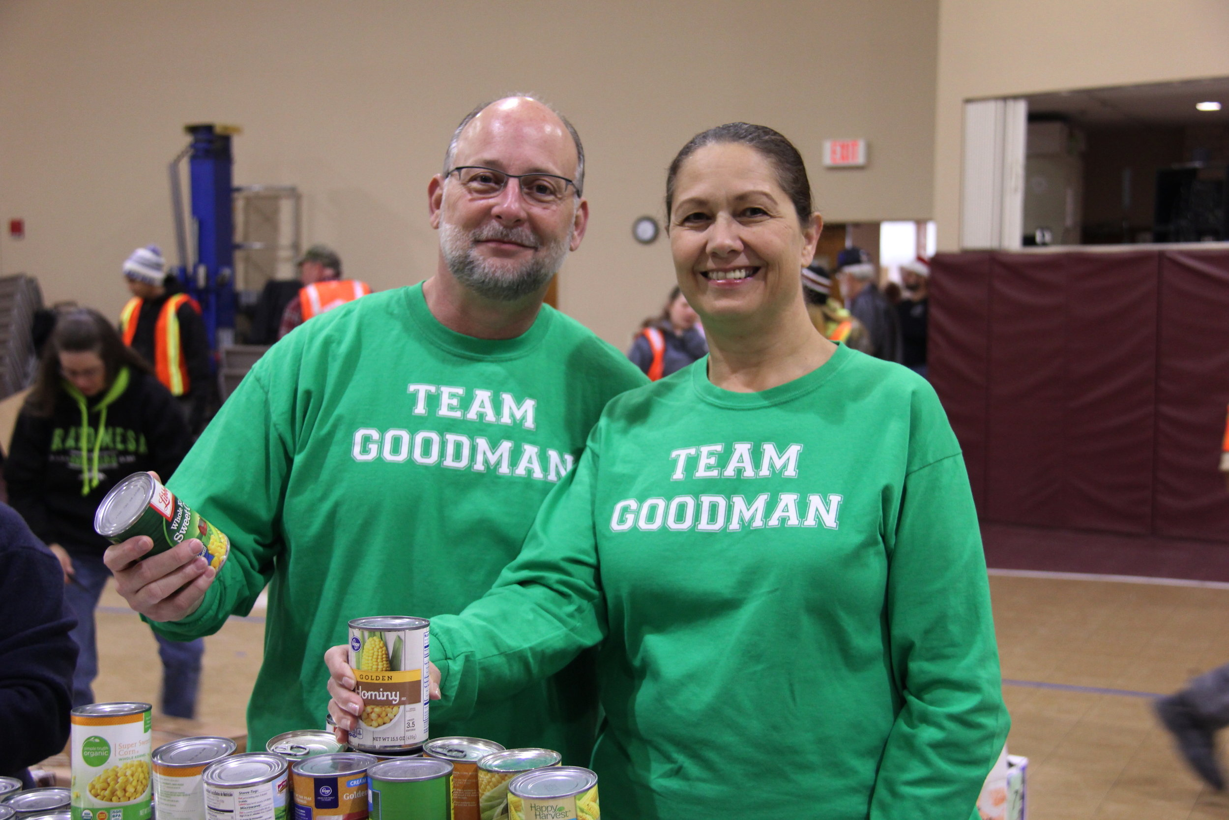 Team Goodman serving the community at the Fayette Cares holiday food distribution. Pictured are Town of Oakland Mayor Chris Goodman and wife Gena.
