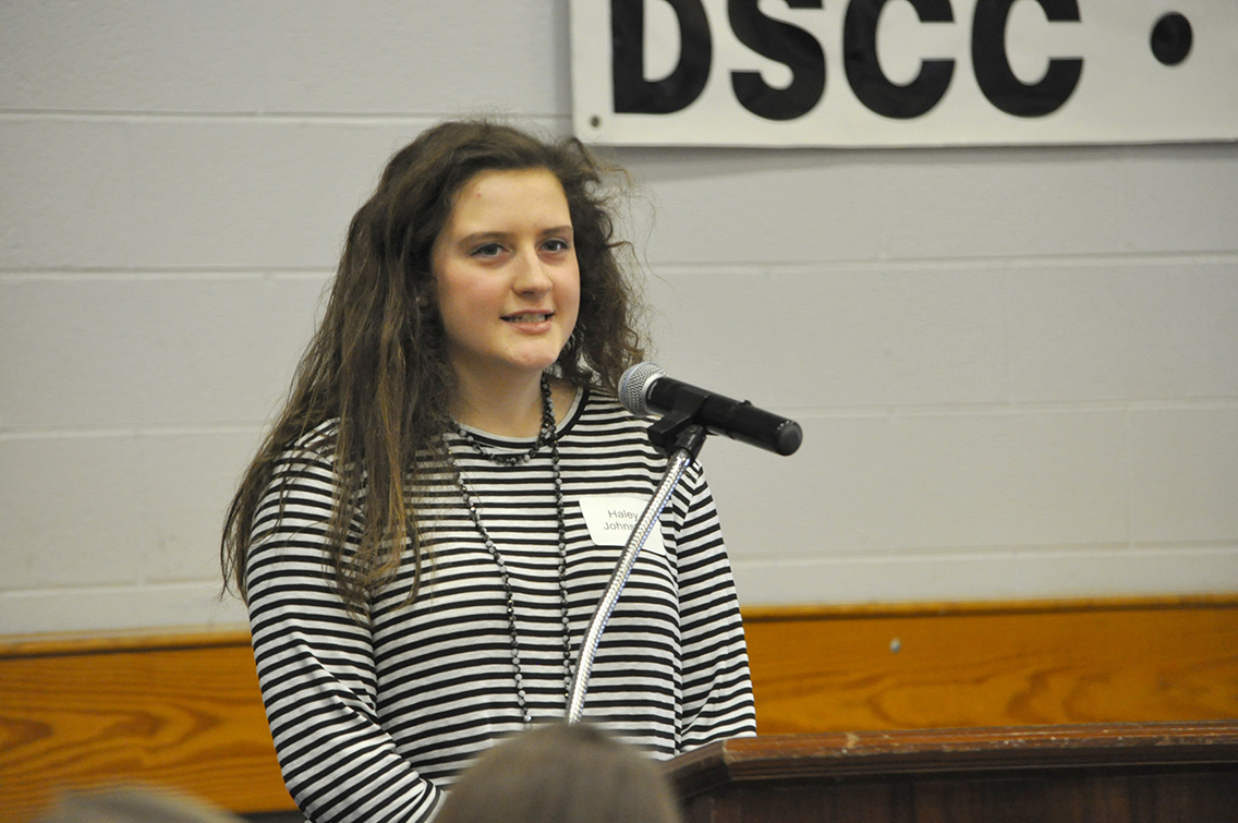 DSCC student Haley Johnston of Troy thanked her scholarship donors during the College's Donor Scholar Luncheon March 30.