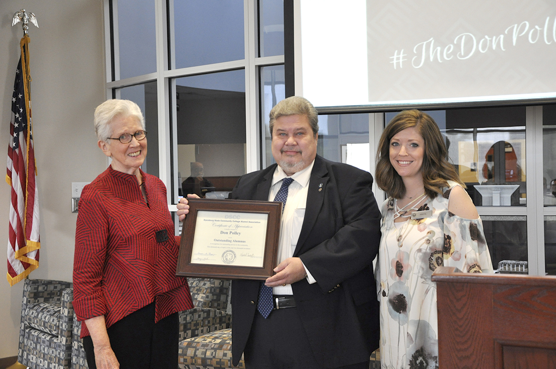 Don Polley of Trenton received DSCC's Outstanding Alumni Award during the College's annual spring conference for faculty and staff April 13.