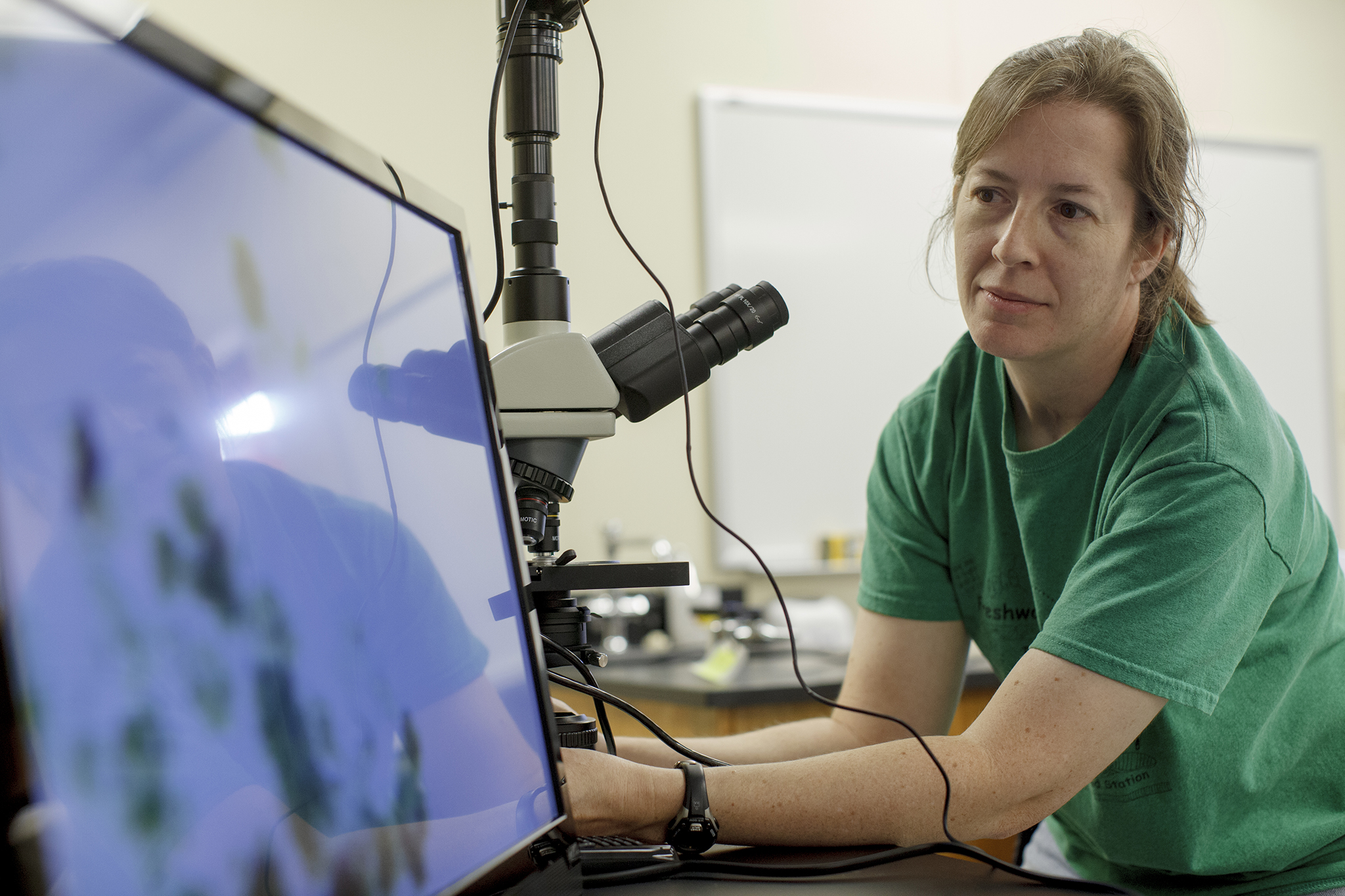 Dr. Jennifer Greenwood is pictured atthe university's Reelfoot Lake Environmental Field Station in Samburg, Tenn.