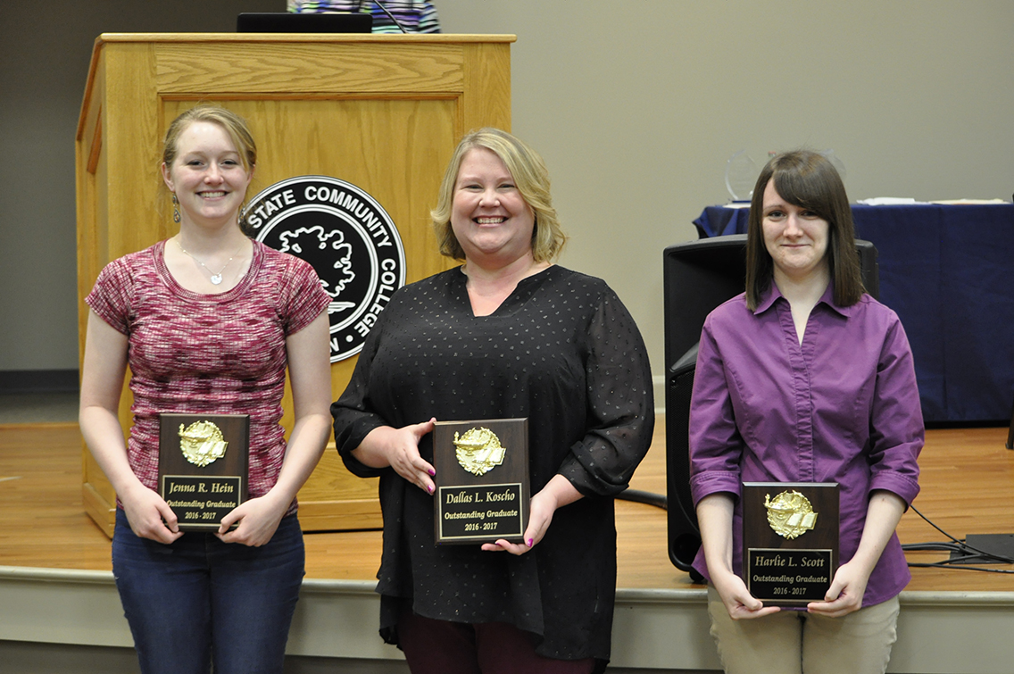 Receiving the Outstanding Graduate Award with a 4.0 GPA during the College's Honors Convocation Ceremony were DSCC students (L to R) Jenna Hein of Munford, Dallas Koscho of Atoka, and Harlie Scott of Newbern.