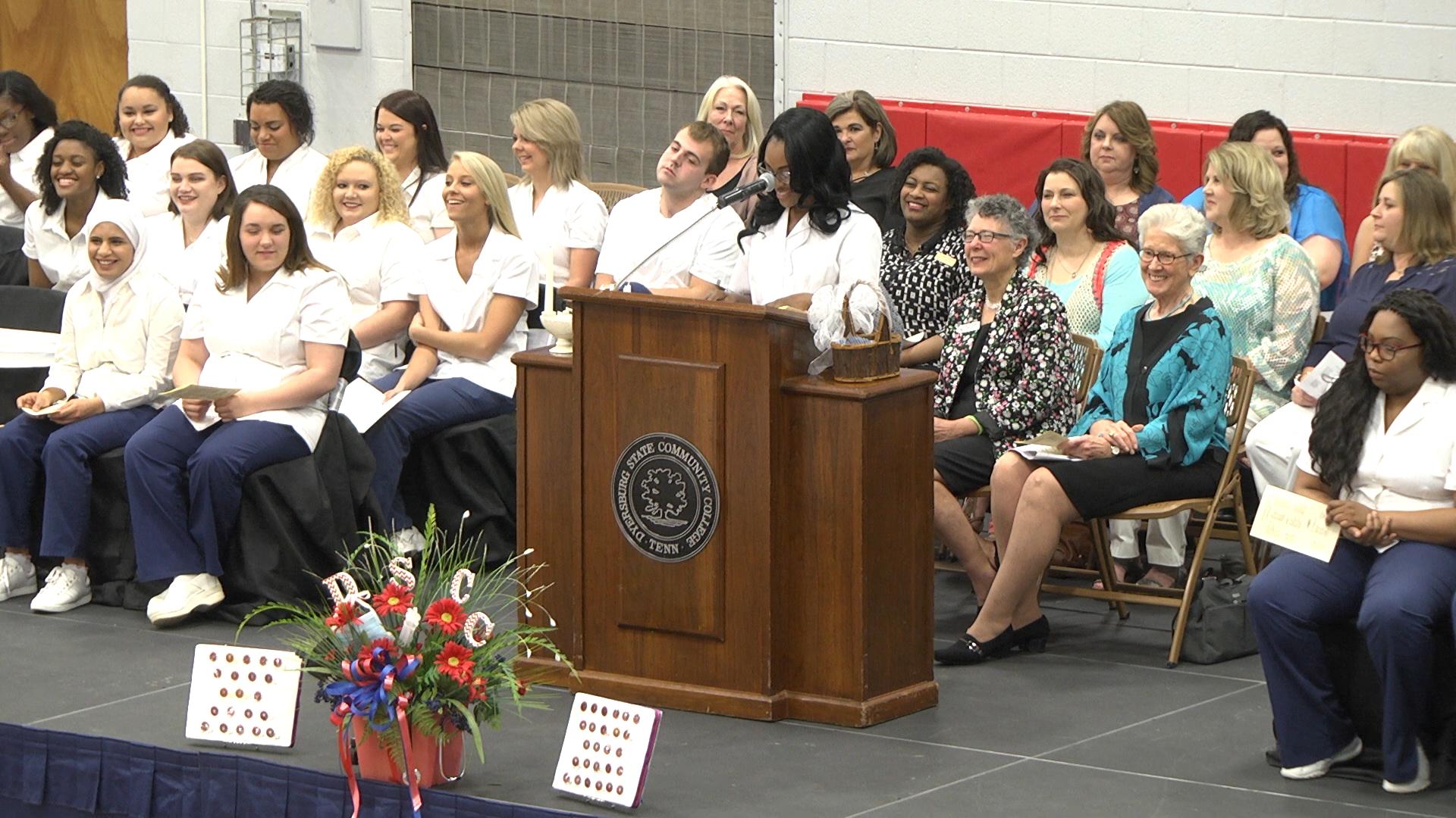 Traditional nursing class president Ashley Barnes of Henning addressed her fellow classmates during DSCC's nursing pinning May 6.