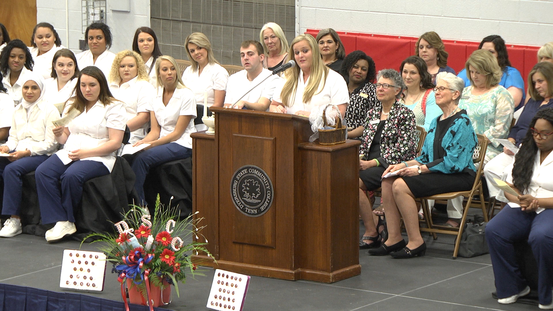 LPN to RN fast track nursing class president Catherine Caldwell-McNeill of Jackson addressed her fellow classmates during DSCC's nursing pinning May 6.