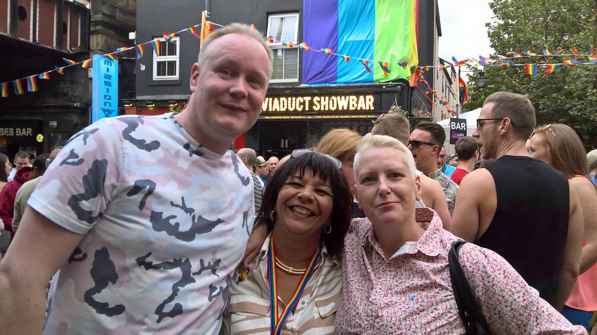 Rosie pictured center enjoying Leeds Pride with friends