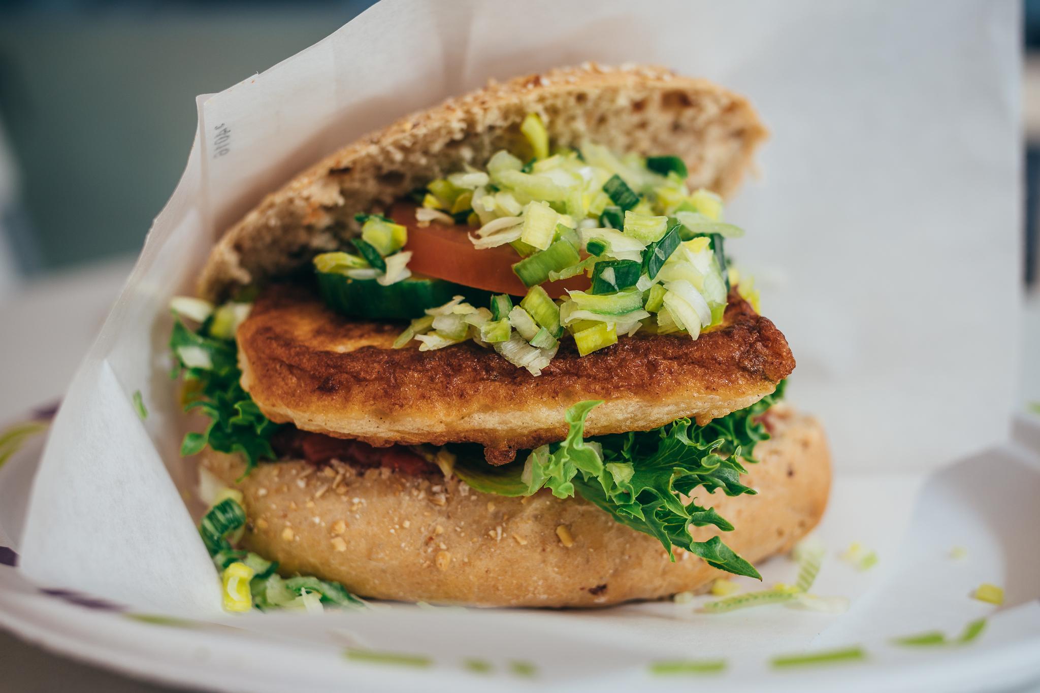 Fiskeburguer, a really tasty fish burger in sauce at Søstrene Hagelin AS