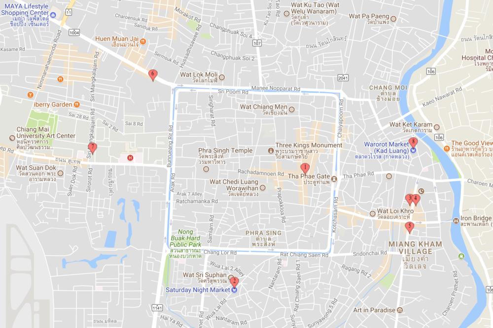1. Sunday Night Market; 2. Saturday Night Market (Wualai); 3,4,5. Kalare Night Bazaar, AnuSARN Market and Chiang Mai Night Bazaar; 6. Central Kad Suan Kaew – Night Market; 7. Suandok Park Market; 8. Warorot Market