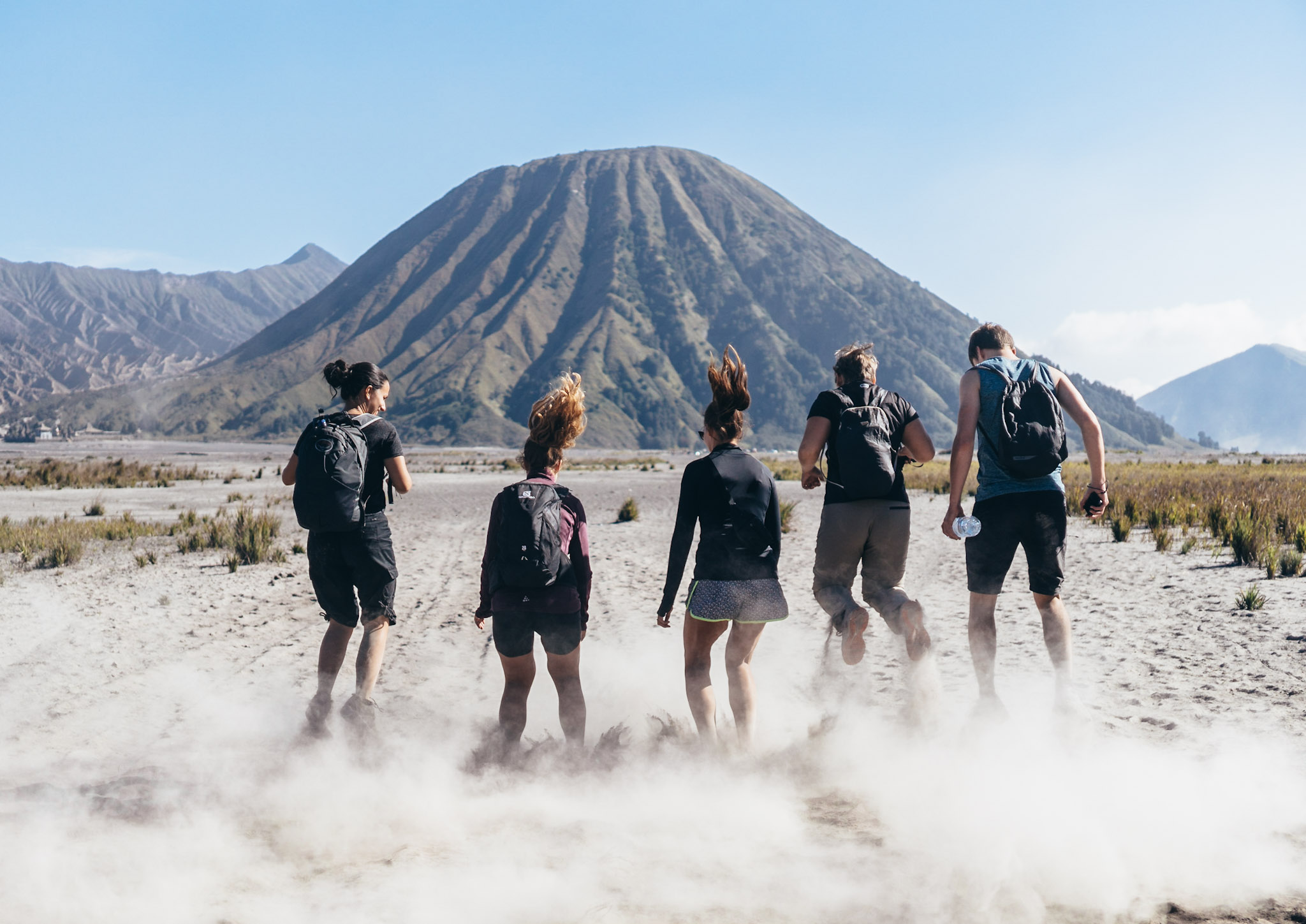 Hiking with our new friends in Indonesia.