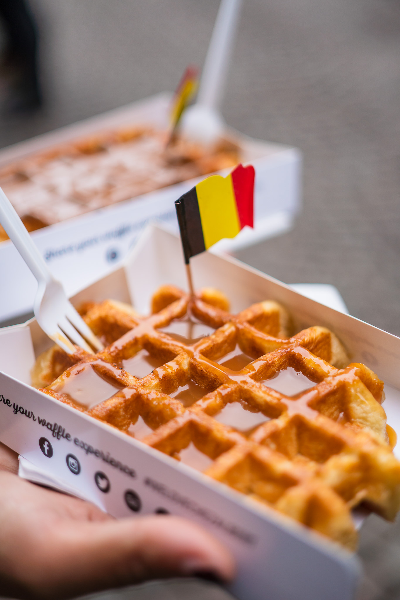 This is a caramel-covered Liege waffle — my diet would consist solely of this if I lived in Bruges.