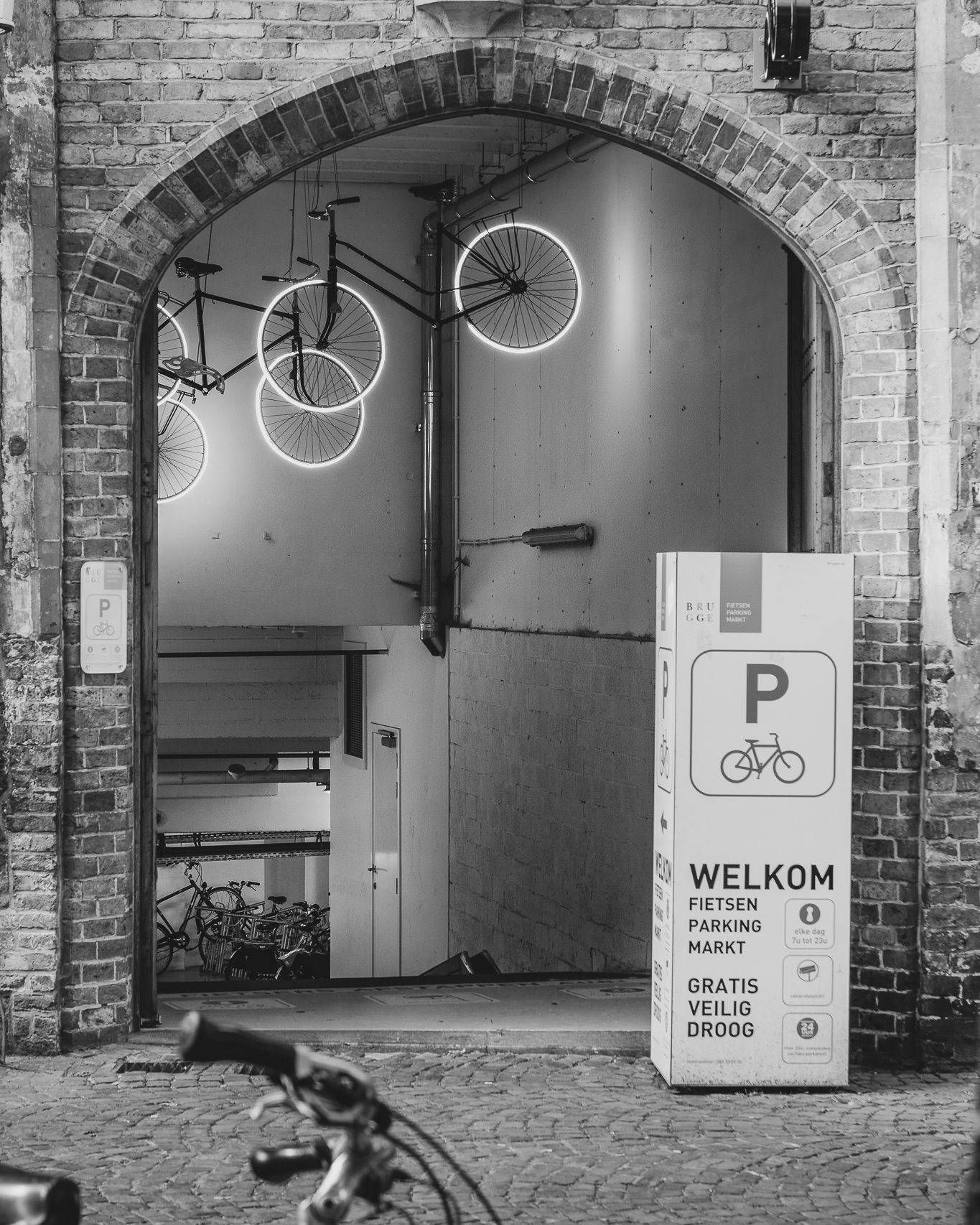 A cool bike garage. Or a ghost basement, who knows.