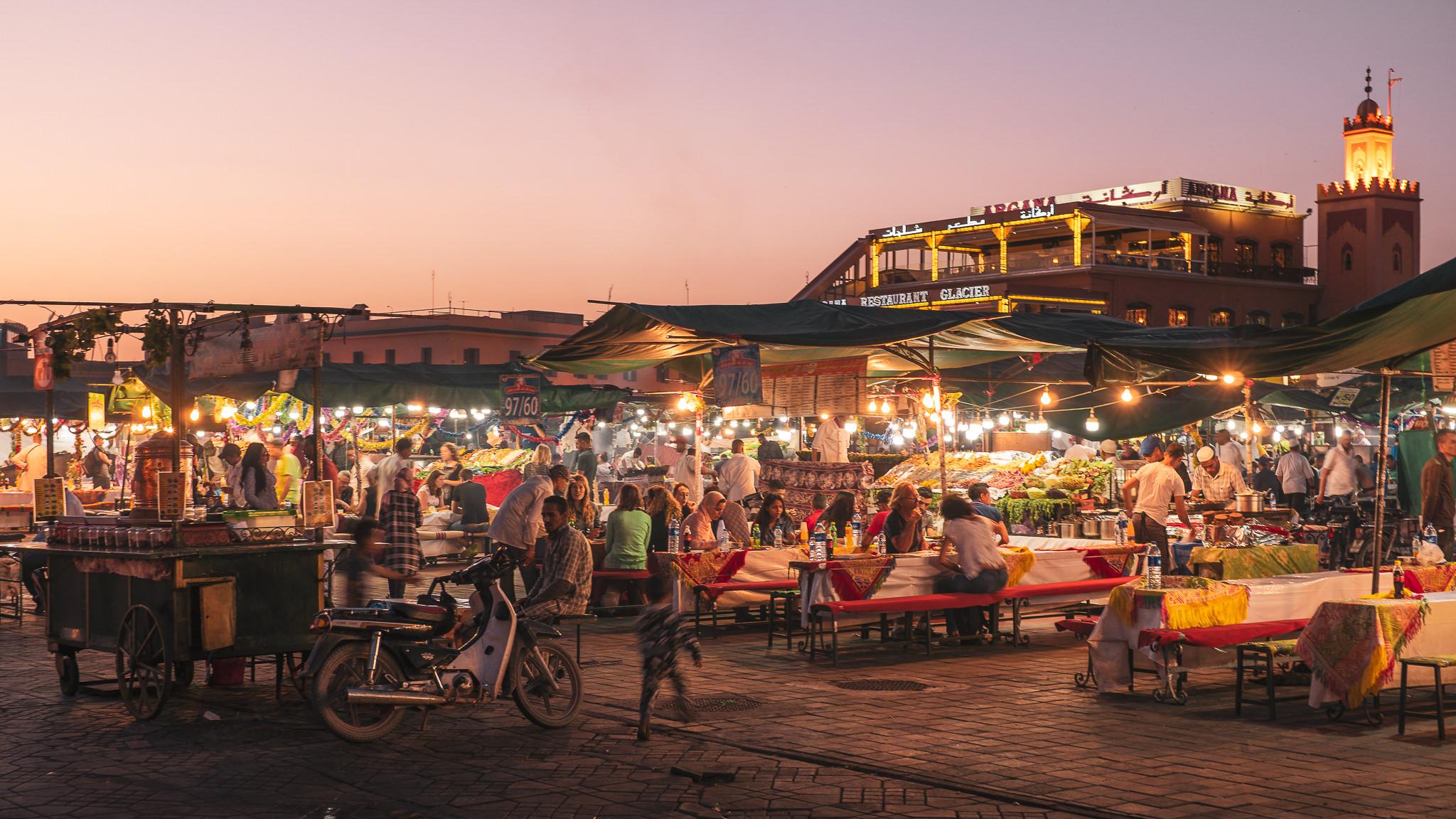 Marrakech souks at night during Ramadan
