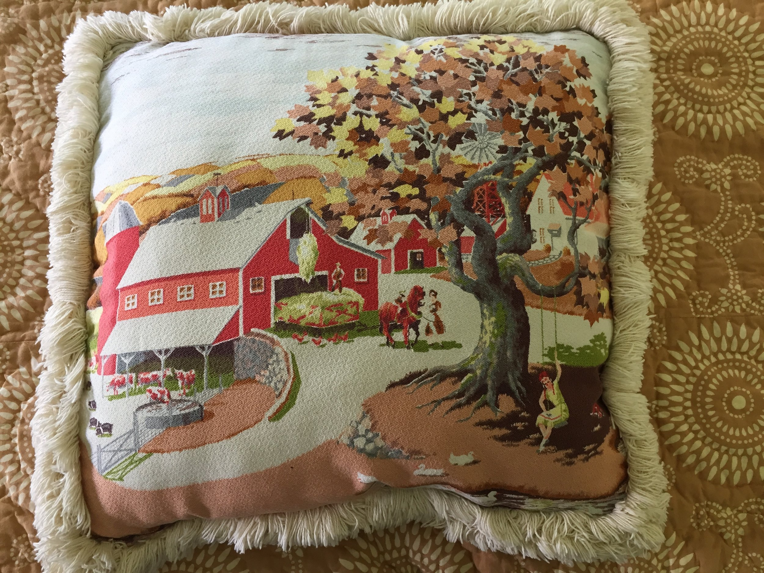 I made this pillow from an old 1950's bedspread I purchased at least 25 yrs ago. I guess, I knew that someday I'd have the perfect use for it.