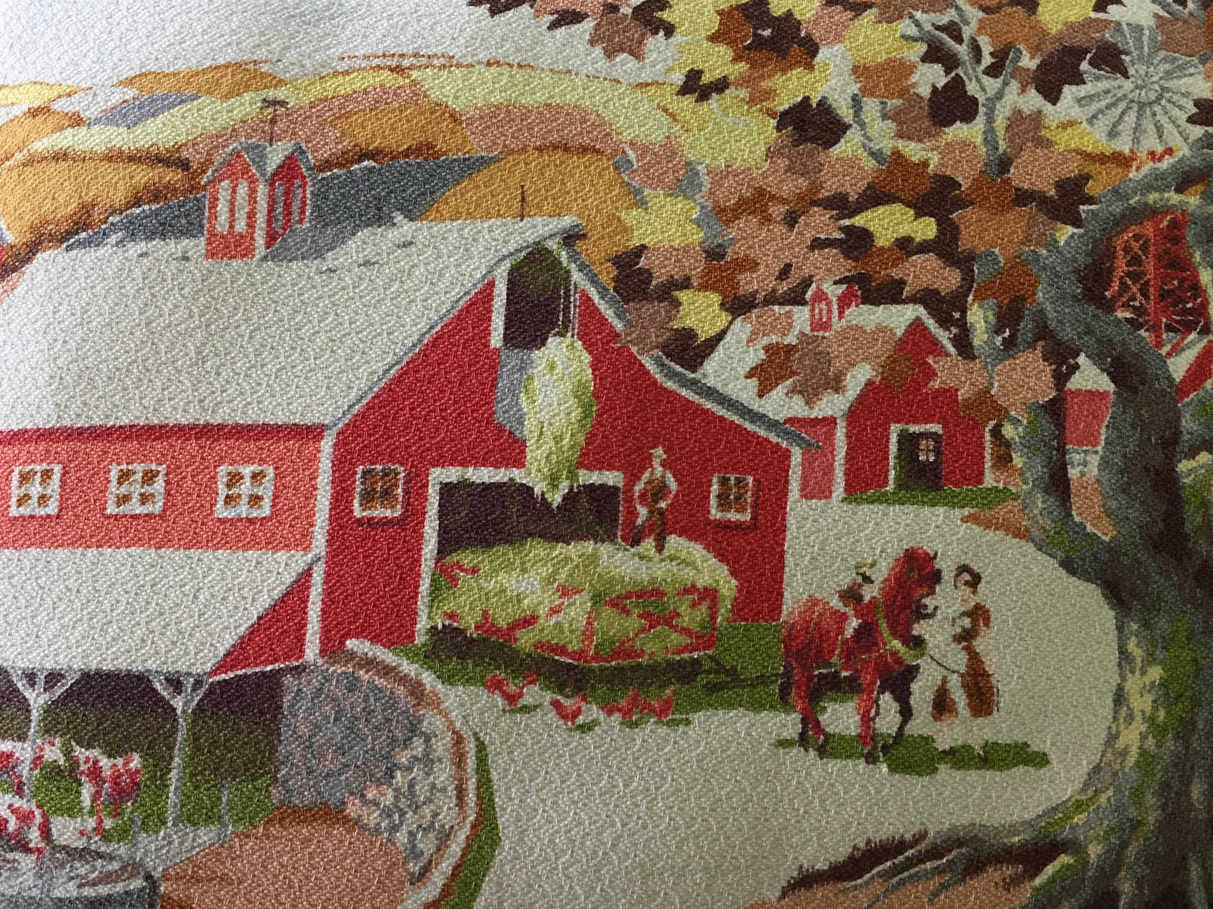 The vintage fabric is cotton with a wonderful textured weave.