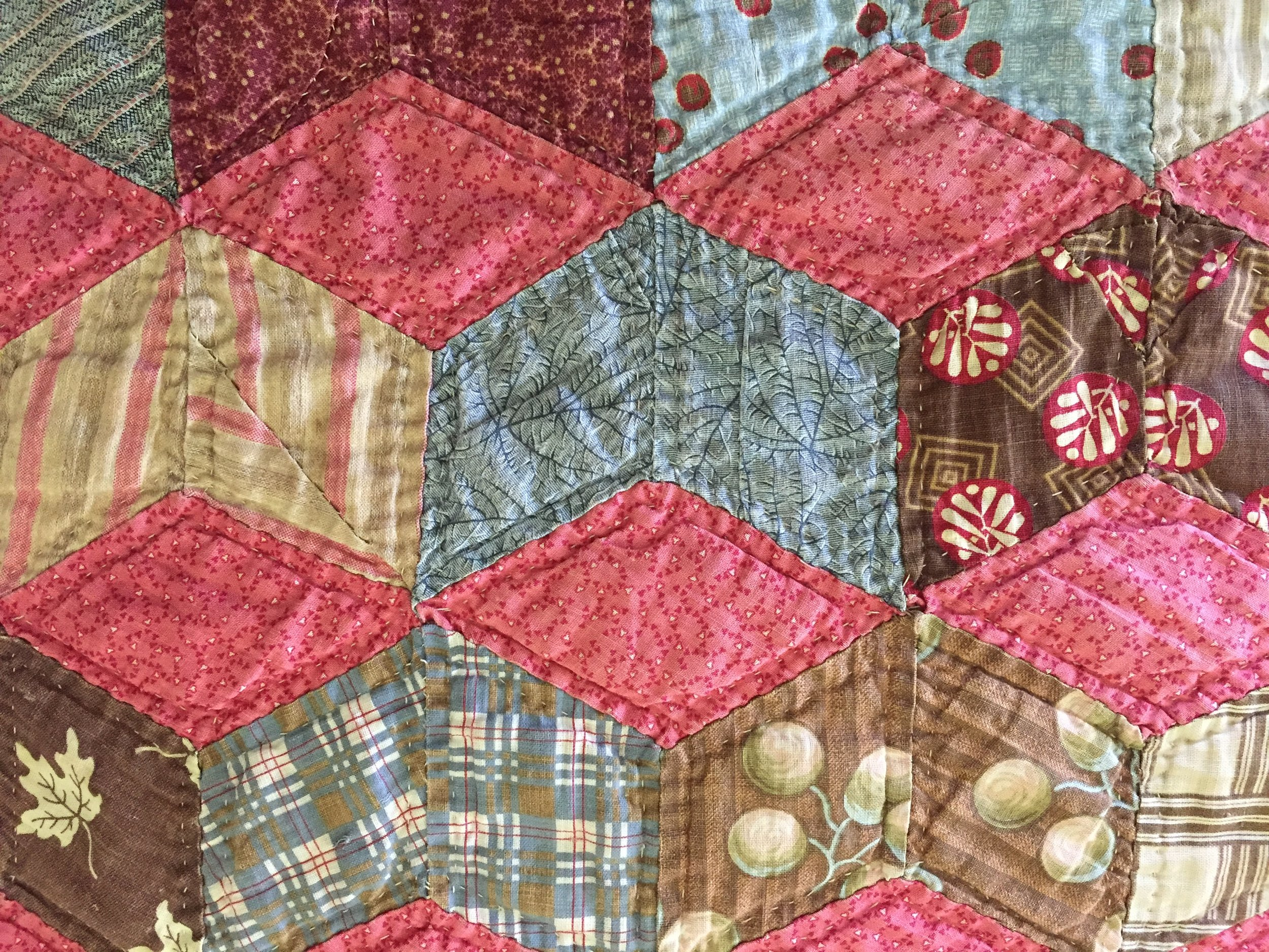 """I purchased this quilt 25 yrs ago from a woman who lived near Paducah Kentucky, named Alma Perish. It was hand quilted in the 1920's. Alma had the largest collection of vintage quilts I have ever seen. She knew the history of each quilt and sold them out of a tin roof cabin in the woods down a dirt road. We followed a hand written sign on a piece of scrap wood that said """"quilts"""" and an arrow pointing down the road. I was quite young at the time and didn't have a lot of money. I had picked out 3 quilts that I loved but knew I could only afford one of them. As I was trying to choose, Alma said to me """"Honey, you take all three. Pay me what you can now and send me the rest when you have it."""" She insisted that I take all three home with me that day! I sent her as much money as I could over the next year until I had paid them off. I'll never forget Alma. What a beautiful soul she was."""