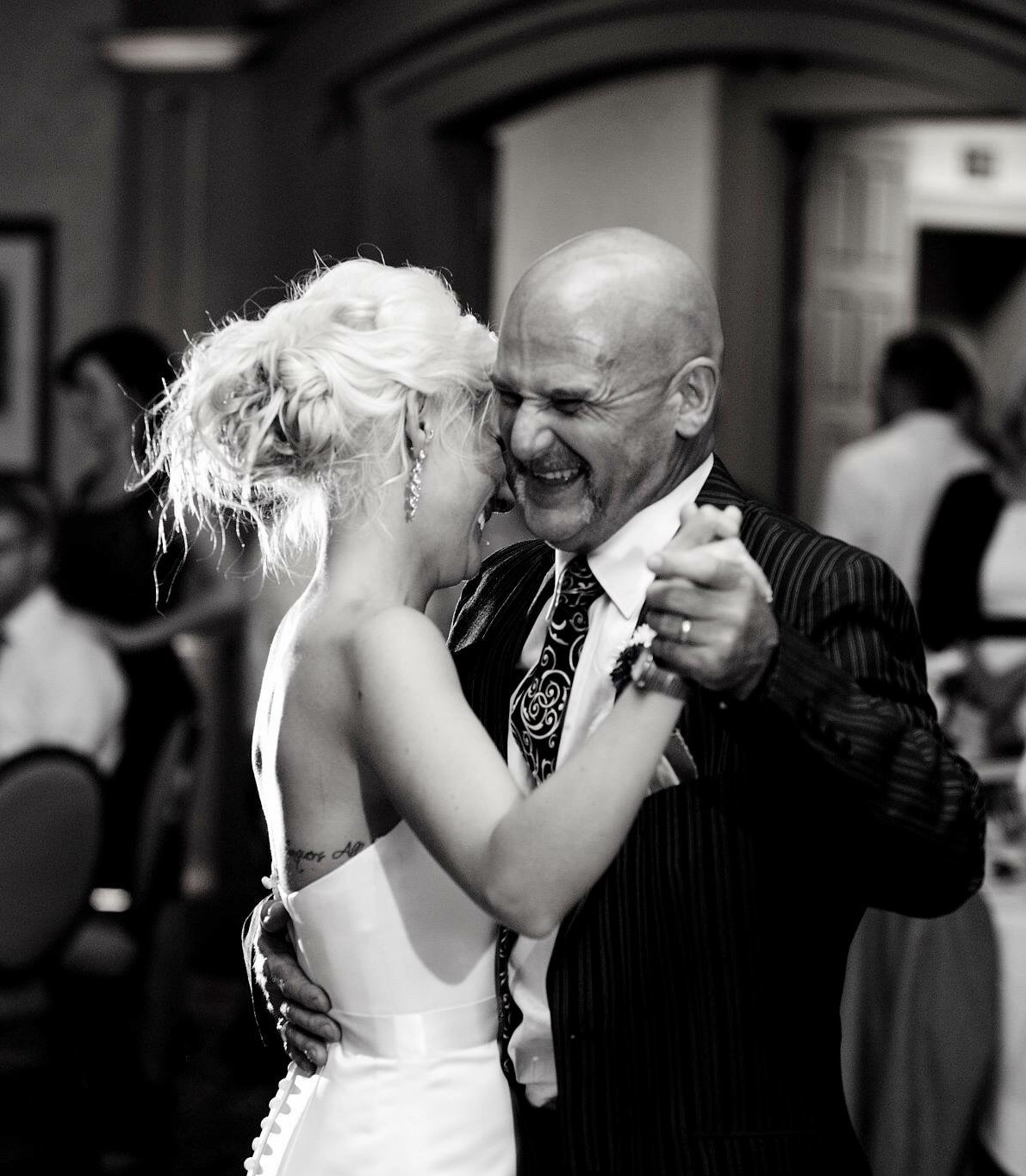 My dad's laughter as he dances with my sister on her wedding day.