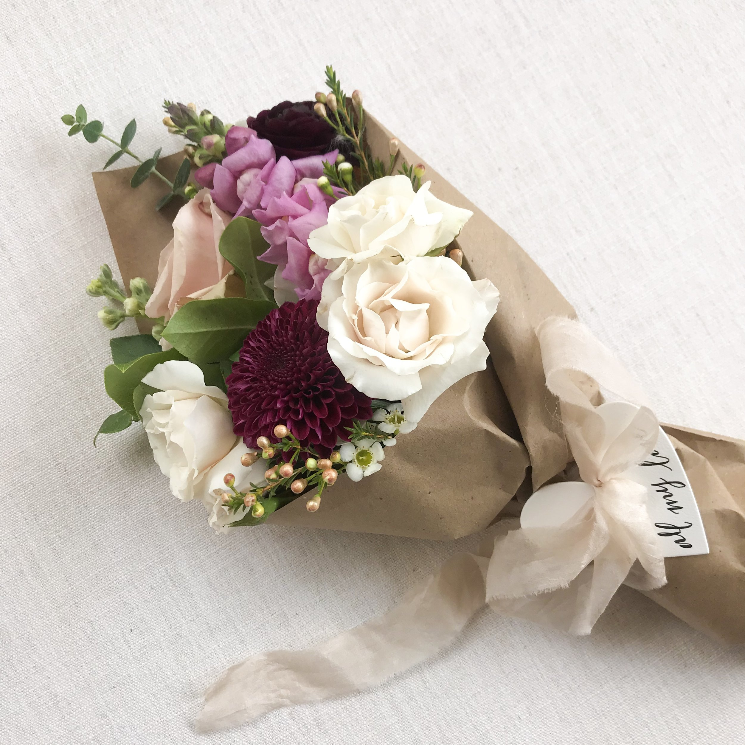 paper wrapped bouquets