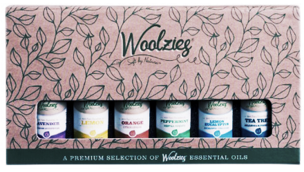 Woolzies Gift Set of 6 Essential Oils: Lavender, Orange, Lemon-Eucalyptus, Lemon, Peppermint & Tea Tree