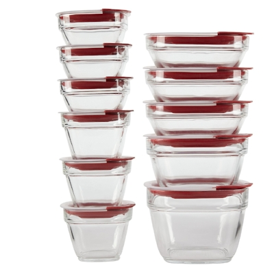 Rubbermaid Easy Find Lids Glass Food Storage Containers  are the bomb—and stack nicely.