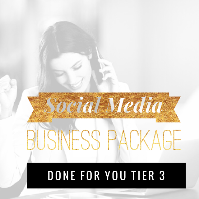 Social Media Business Package Done For You (Tier 3) - 1 Hour Social Media Strategy session to create a Monthly Theme. Create 4 Topics, Up to 50 images created, branded to your business based on the theme and topics we come up with in your strategy session. We will post up to 3 Social Media Accounts, 2-3 Times a day in a 5 day period. Create your client avatar (Ideal Client, Targeted Audience) , Engagement and Interaction with your followers, Create captions and hashtags for your targeted audience.$550