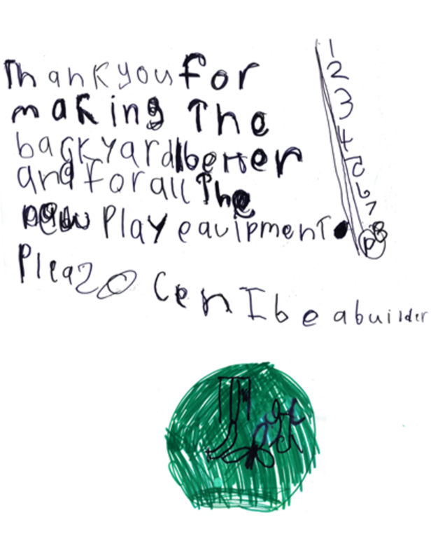 thank you from one of the children who access the services at the refuge