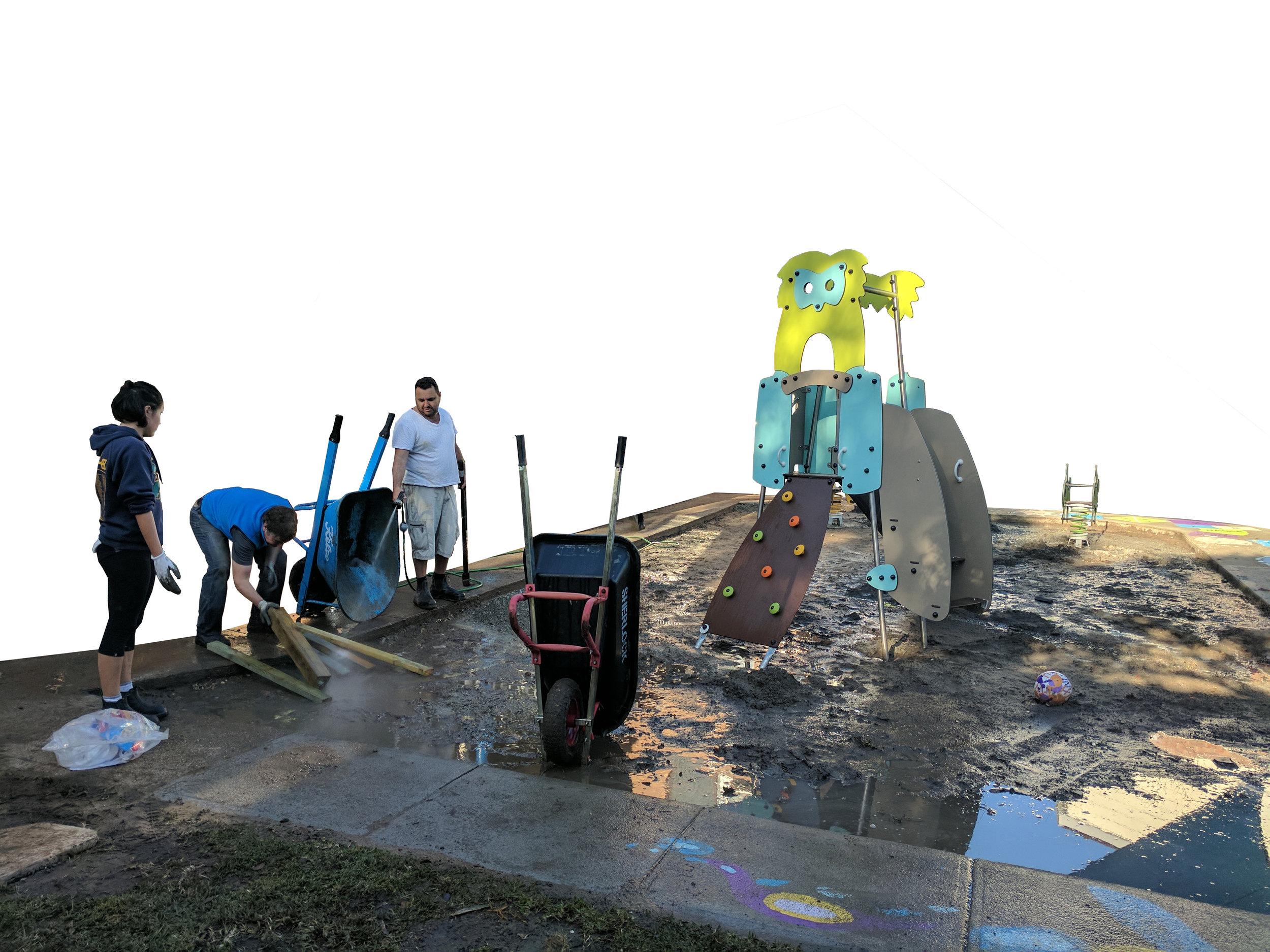 cleaning wheelbarrows in mud pit.jpg
