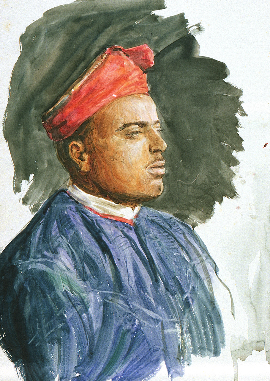 PAE2482 Profile portrait of a man in a red turban and blue tunic.jpg