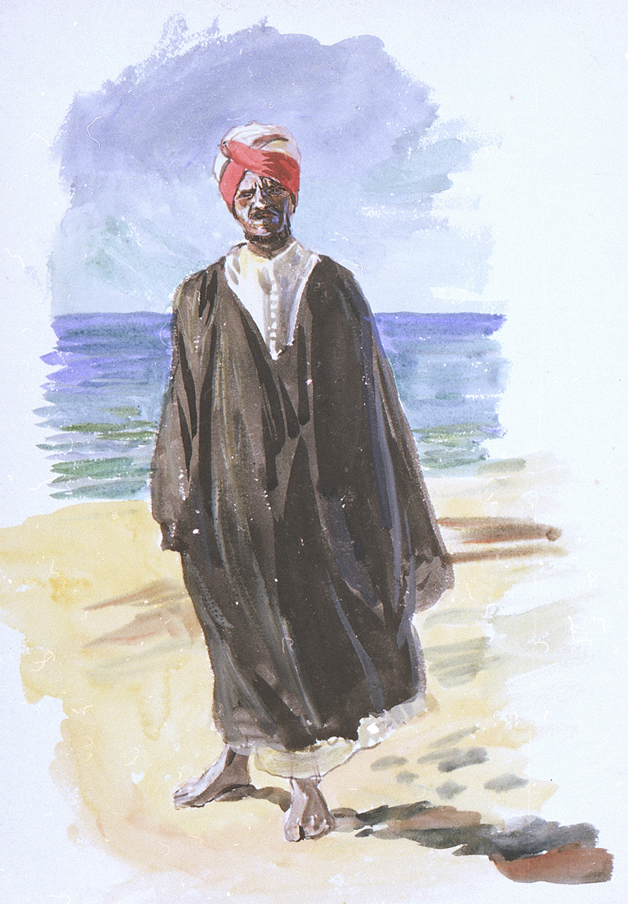 PAE2479 Portrait of a man in North African dress by the sea.jpg