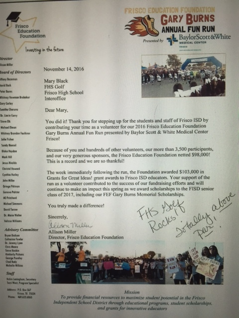 Just wanted to share with the teams and parents the thank you letter that we received for volunteering at the Gary Burns Fun Run!