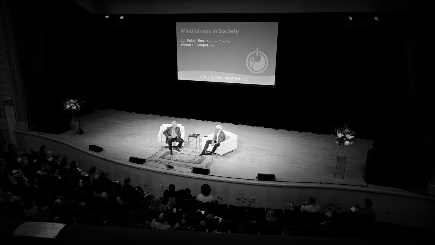 Jon Kabat-Zinn and Anderson Cooper at the Mindfulness in America Summit, NYC | OMventure.com