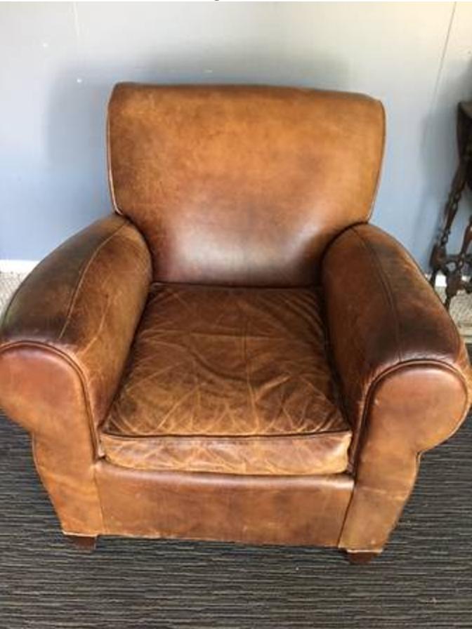 Craigslist Leather pottery barn chair