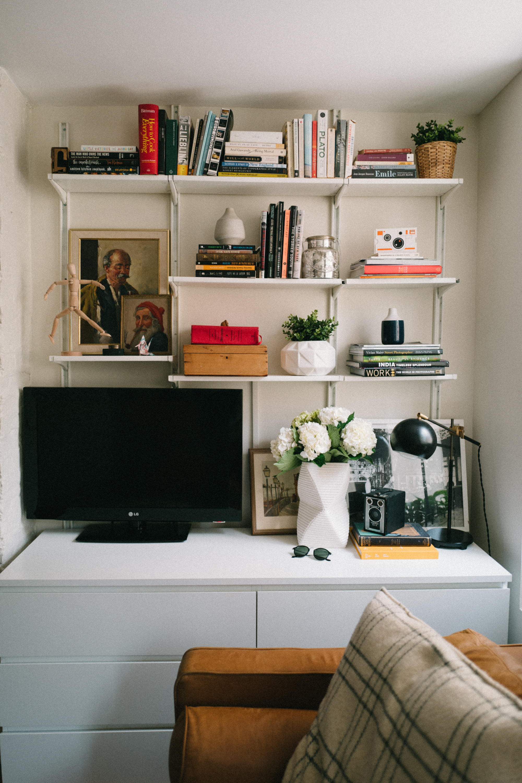 Black lamp:  Schoolhouse Electric . White planter:  CB2 . Artist's figure:  Ikea .