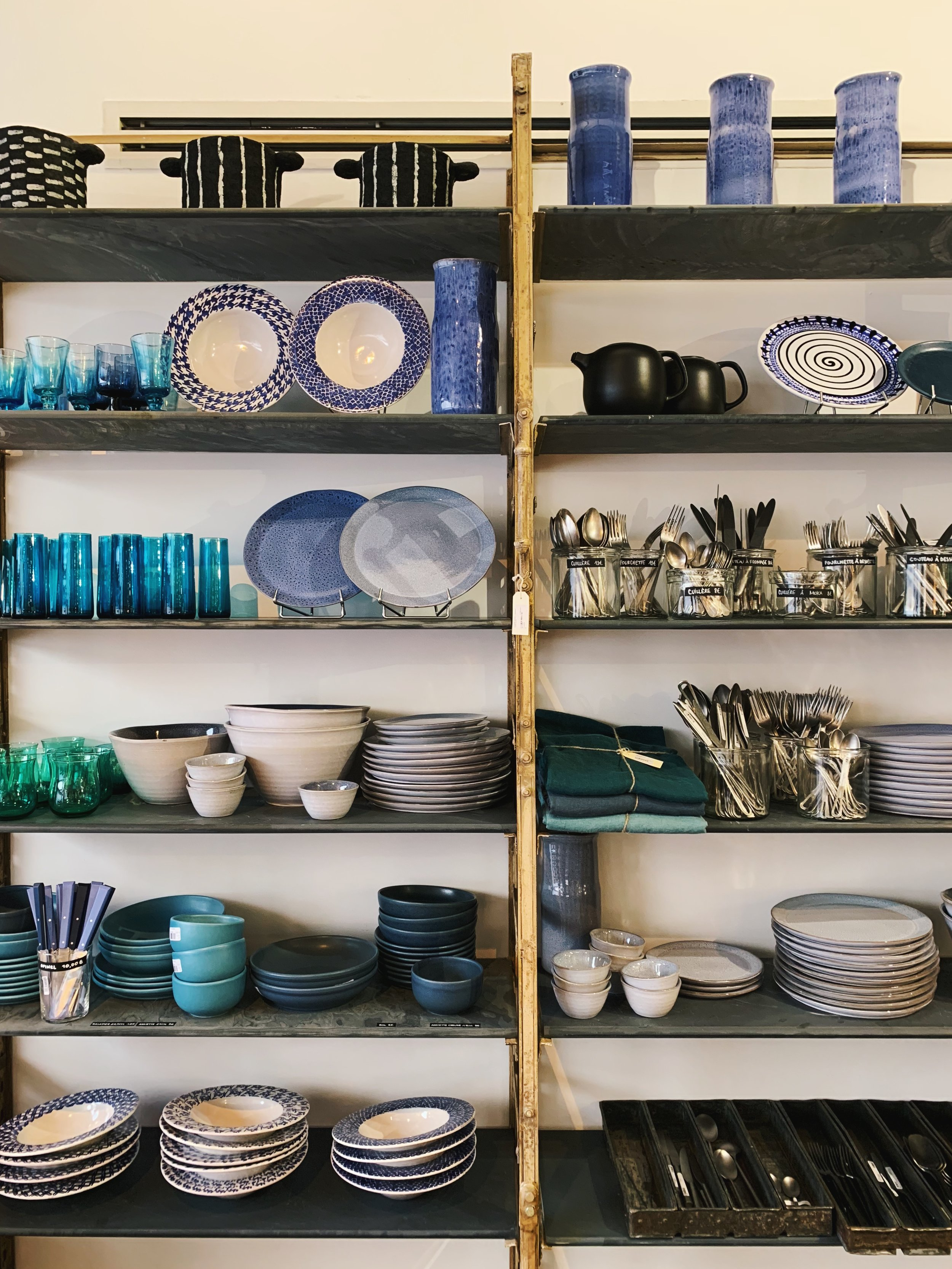 Ceramics and flatware at Merci.