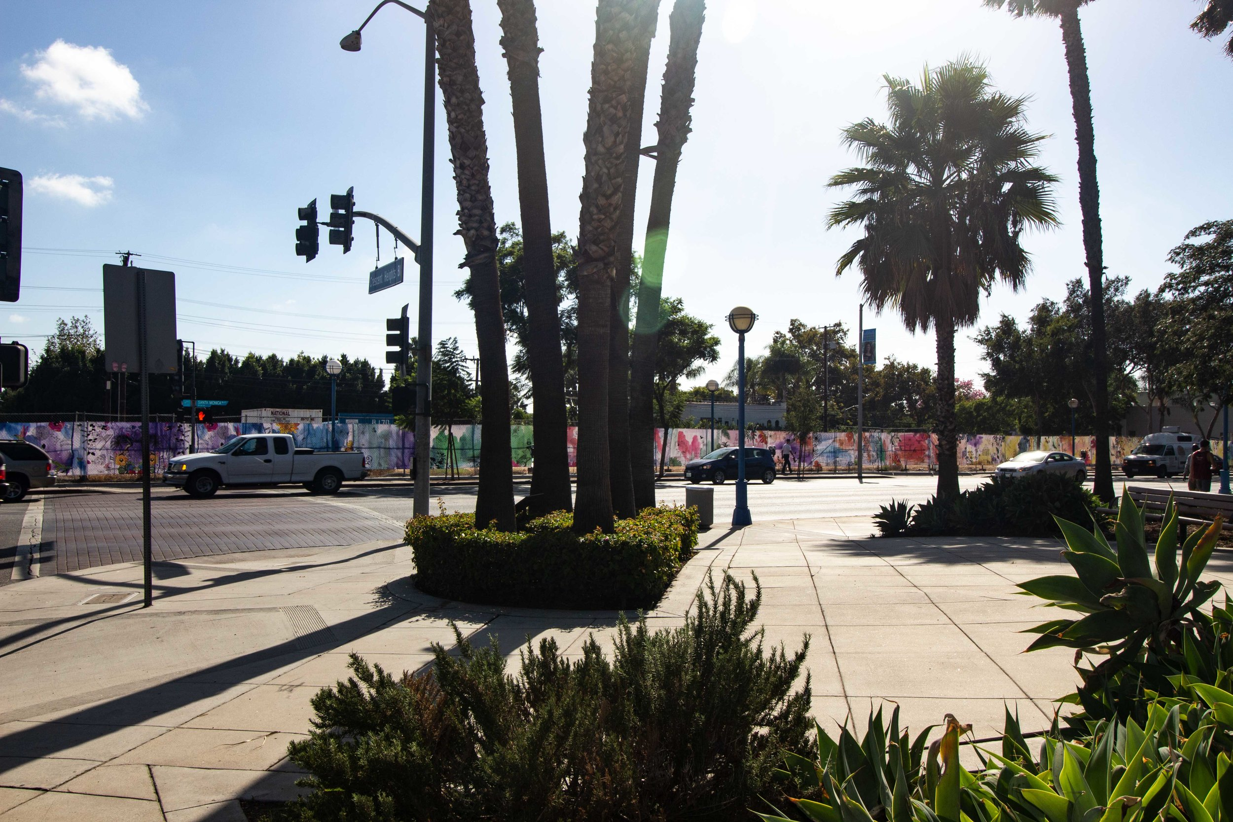 Welcome to the Brightside artwork, 57 banners, 10' x 6' along Havenhurst, Crescent Heights and Santa Monica.