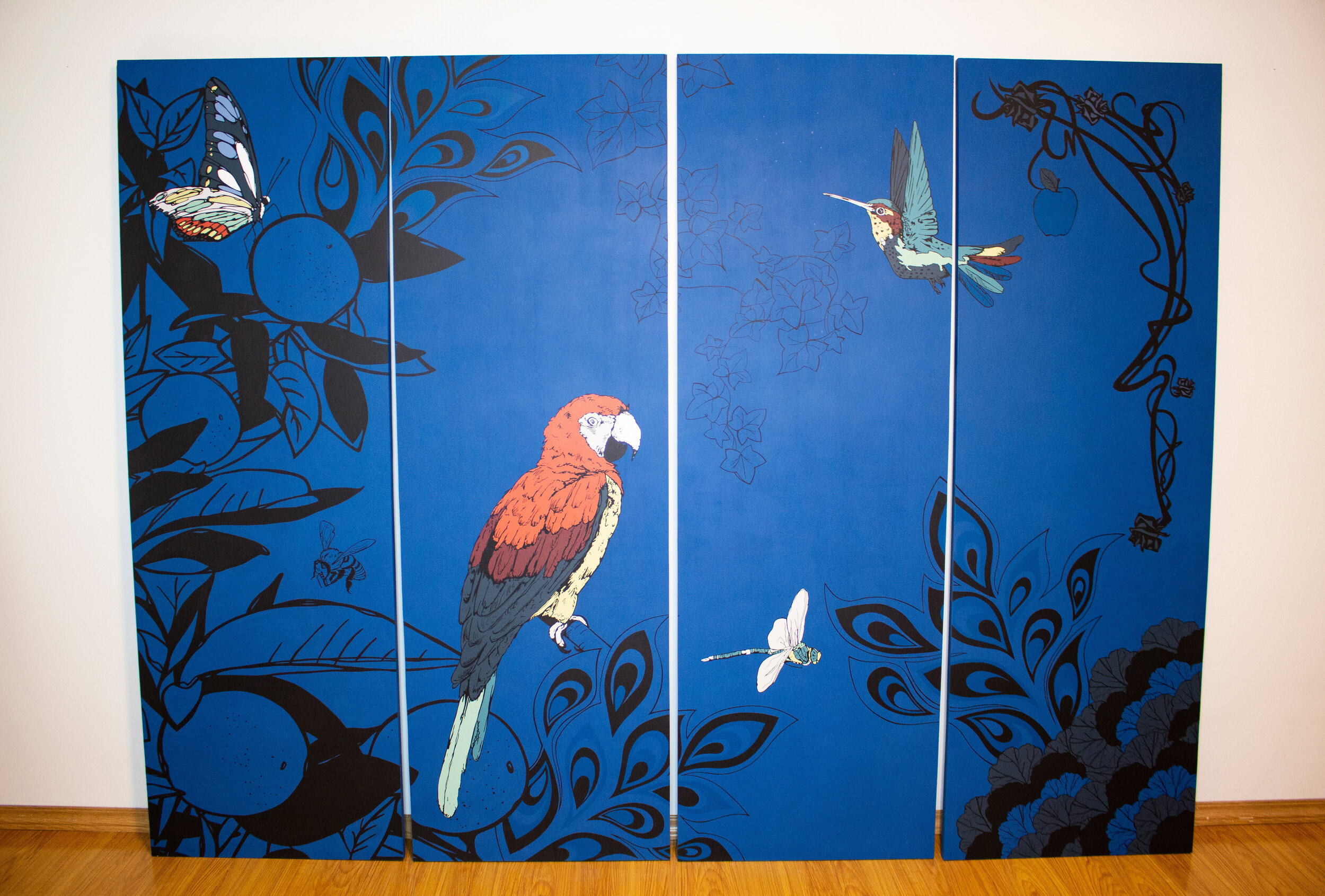 The hand-painted Paravent (screen / room divider) front left design. This is photographed before delivery to the woodworker.