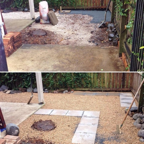 Quick little paving job. We had to remove a big clump of bamboo from the back corner. It's now a low maintenance yard with just a few pots to look after.