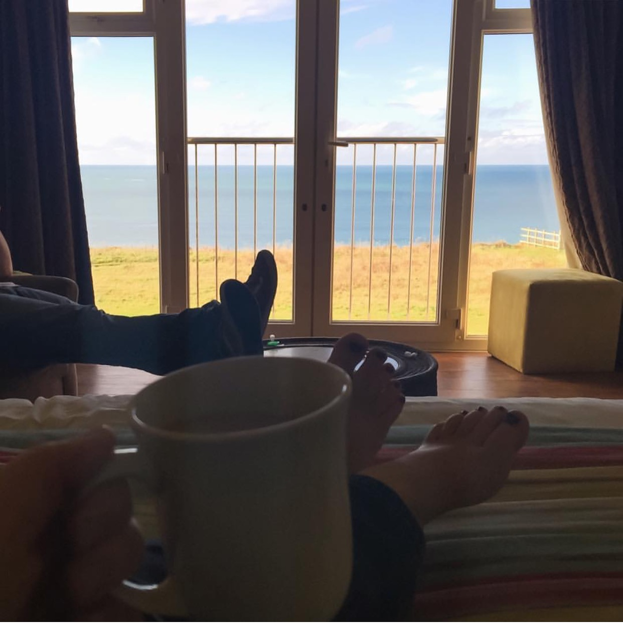 Enjoying a cuppa with 'that view' whilst the boys' were at the Pirate's Kids' Club.