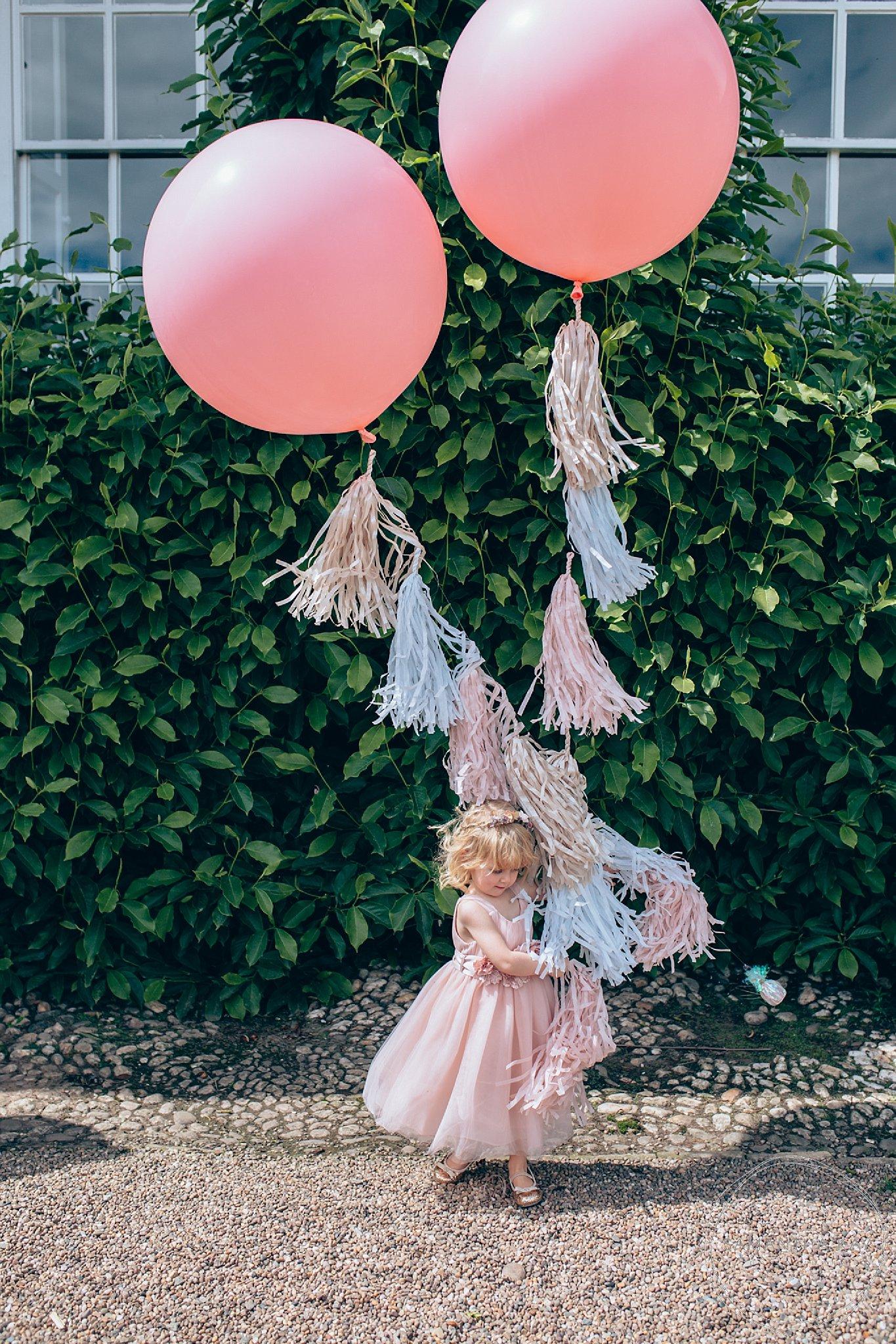 Giant pink wedding balloons