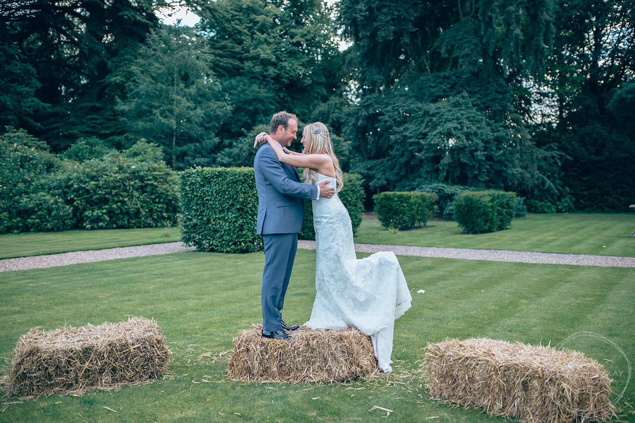 Bride and groom at Iscoyd Park