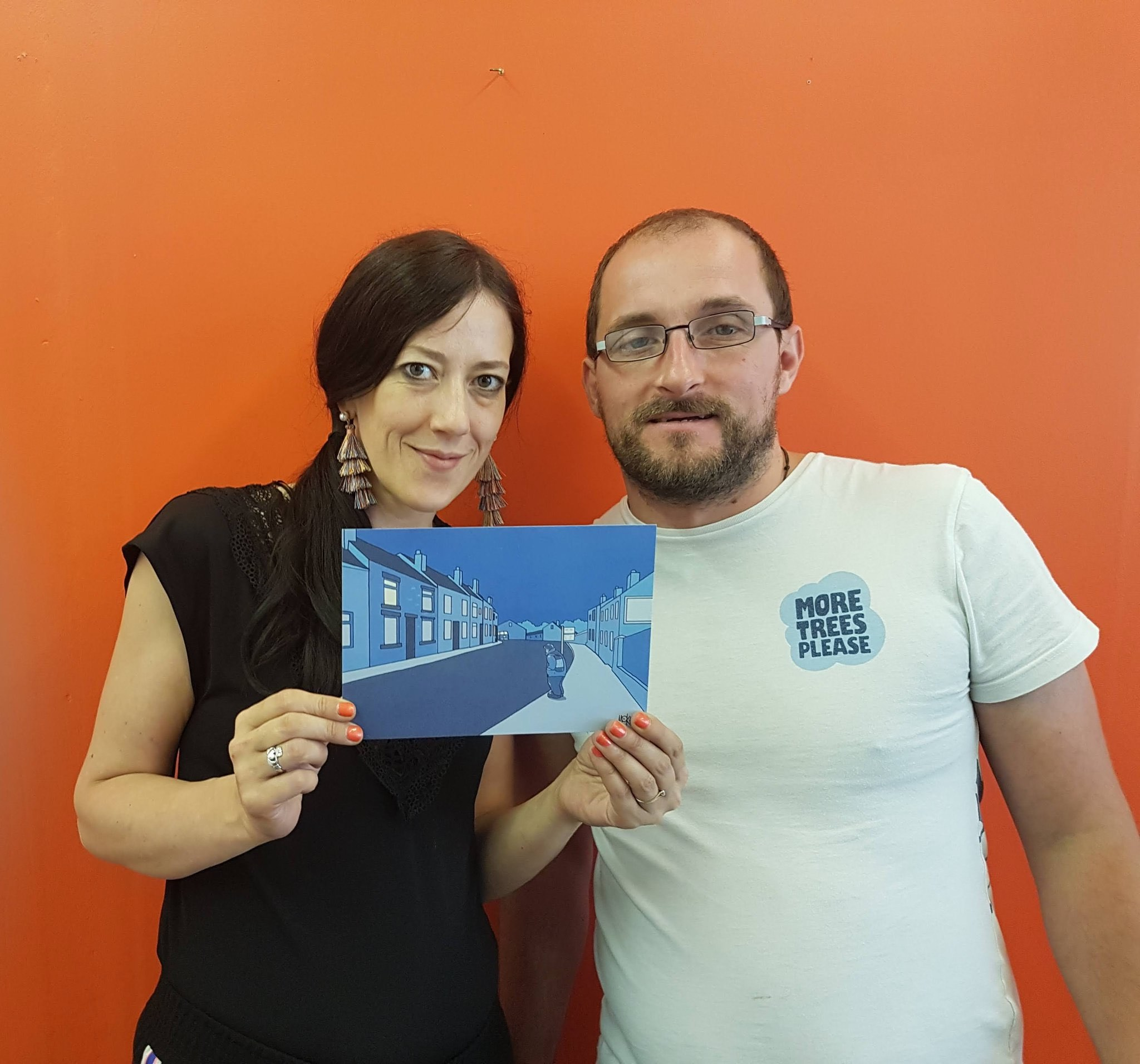 James & Amy with our invite to the exclusive launch event