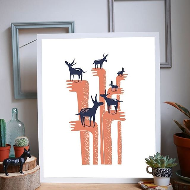 Six Donkeys (Same Dream) by @jamesgreenprintworks .  One of our original prints and still one of our favourites. . Hand screenprinted onto A3 recycled @gfsmithpapers card using eco water-based inks. . Produced by our team of people in recovery from homelessness and other challenging circumstances. . Available to buy through link in image. . #PrintingPositiveChange . #FromSleepingBagToFulfillingLives