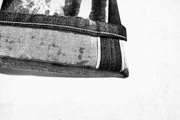 The red and white pipes are a symbol of what selvedge denim is all about.