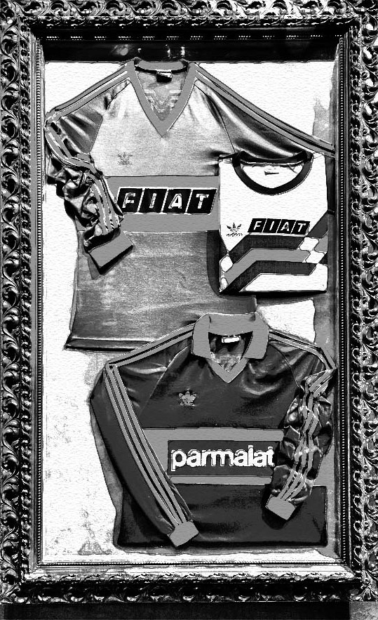 VIntage Boca Juniors jerseys on display.