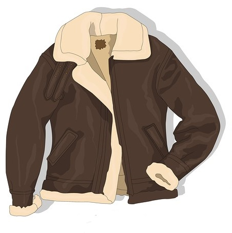 The flight jacket. Natural cowhide and a sheepskin collar. Serious contrast.