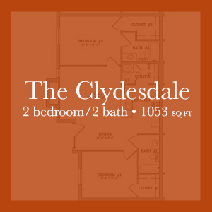 The Clydesdale - 2 bedroom/2 bath - 1053 sq ft Links to floor plan