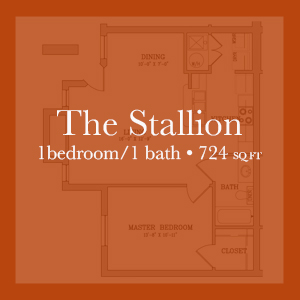 The Stallion - 1 Bedroom/1Bath - 724 sq ft  Links to floor plan