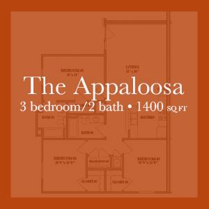 The Appaloosa - 3 bedroom/2 bath - 1400 sq ft Links to floor plan