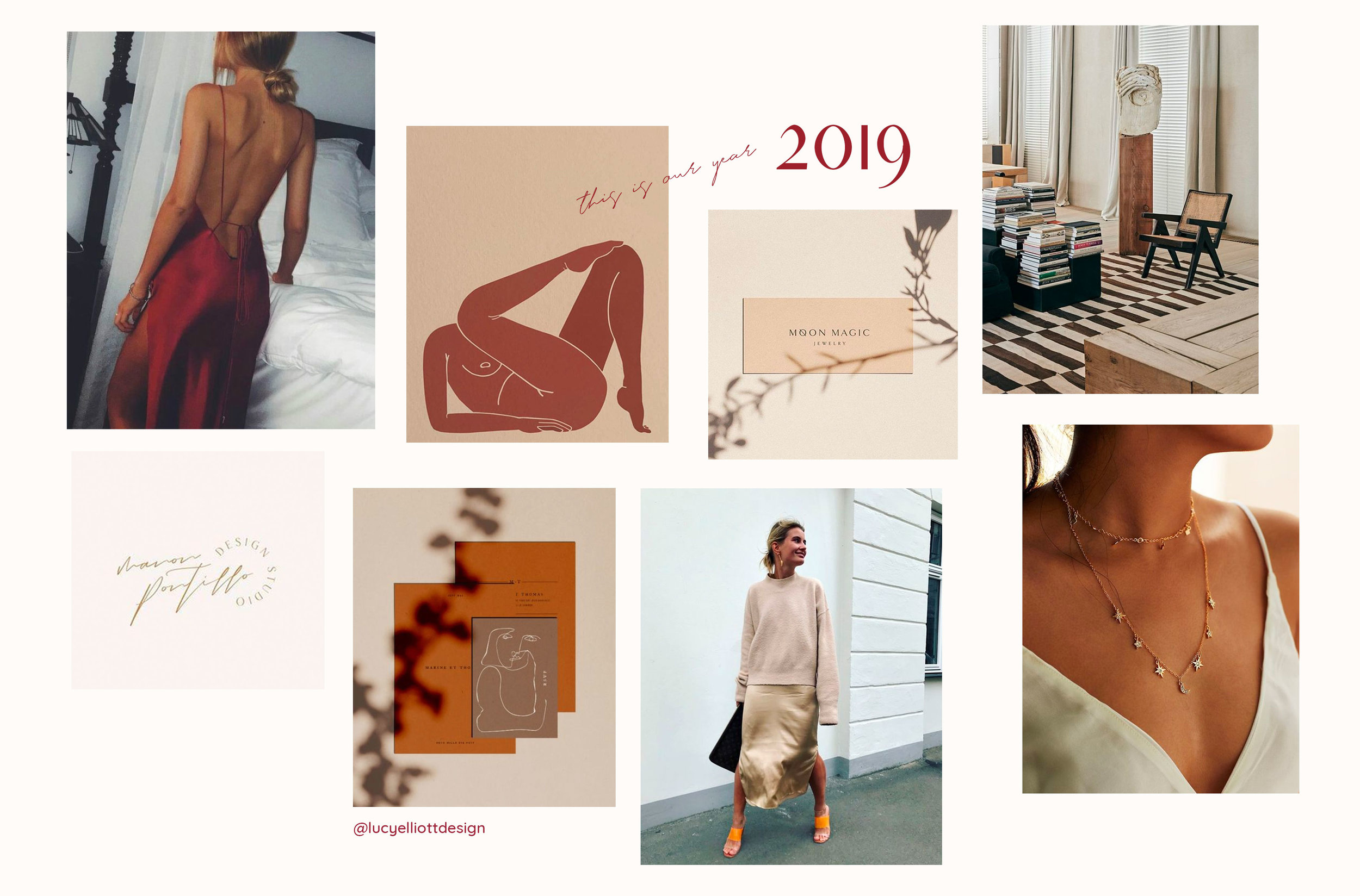2019 Mood board: Neutrals, satin and gold